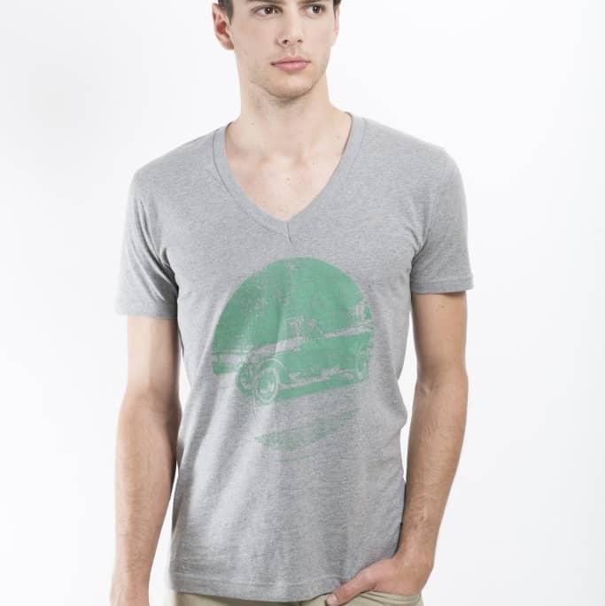 graues T-shirt aus Biobaumwolle mit historischem Motiv