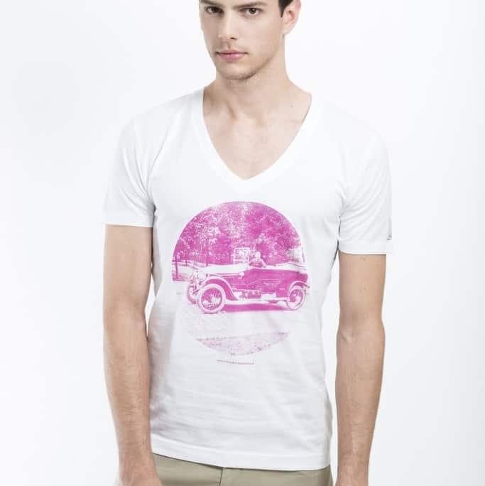 weißes T-shirt aus Biobaumwolle mit historischem Motiv