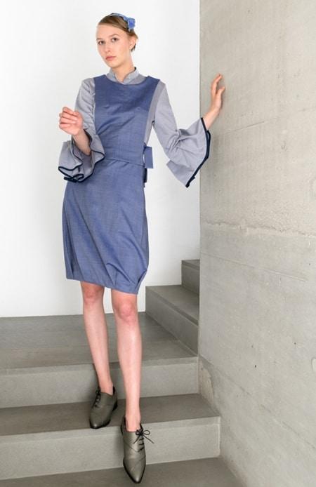Bluse grau, Oberteil und Rock blau