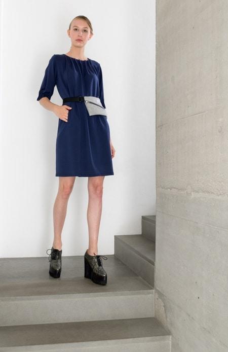 Jerseykleid mit Patronenfalten dunkelblau